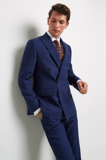 Moss 1851 Tailored Fit Bright Blue Check Double Breasted Jacket
