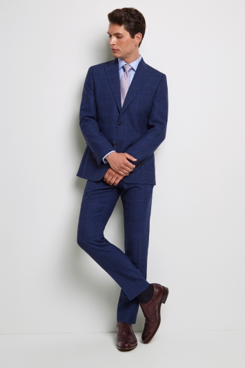 Moss 1851 Tailored Fit Bright Blue Check Jacket