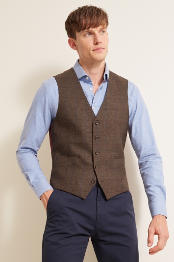 Moss 1851 Tailored Fit Green Windowpane Waistcoat