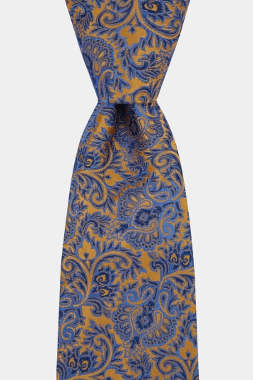 Moss 1851 Made in England Gold & Blue Paisley Tie