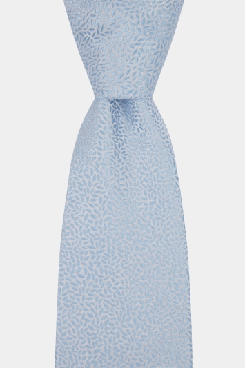 Moss 1851 Made in England Sky Blue Leaf Tie