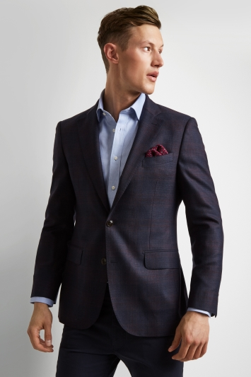 Ermenegildo Zegna Cloth Tailored Fit Navy Burgundy Check Jacket
