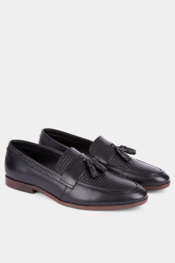 Moss London Wilcot Black Textured Loafer