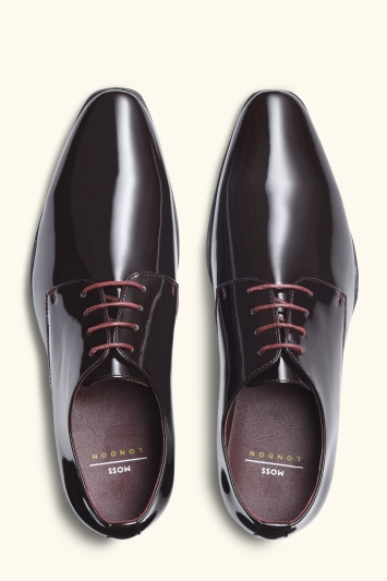 Moss London Aston Burgundy Patent Derby