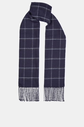 Moss 1851 Navy & Grey Windowpane Scarf
