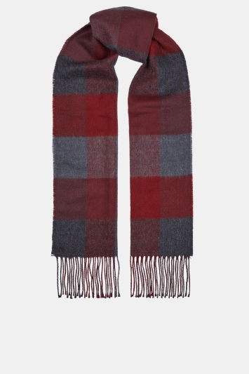 Moss 1851 Burgundy & Grey Block Check Scarf