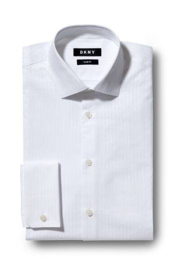 DKNY Slim Fit White Double Cuff Self Stripe Shirt