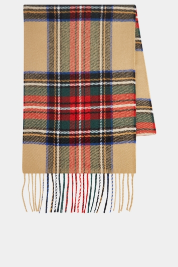 Moss 1851 Camel, Red & Green Check Scarf