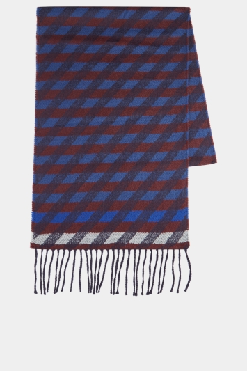 Moss 1851 Blue, Wine & Grey Diamond Check Scarf