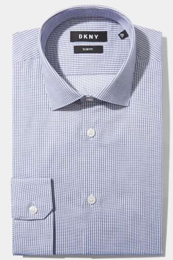 Moss London Skinny Fit Navy Single Cuff Stripe Collar Shirt Size 16.5 Rrp£32.50 Shirts & Tops Men's Clothing
