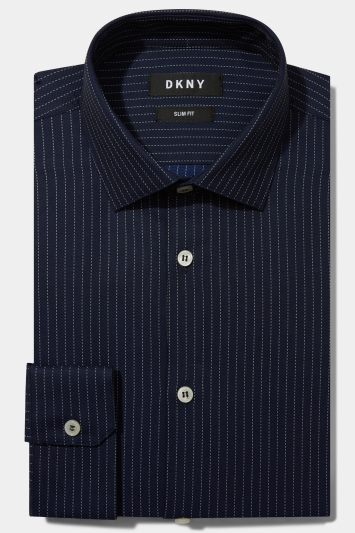 DKNY Slim Fit Navy Single Cuff Textured Stripe Shirt