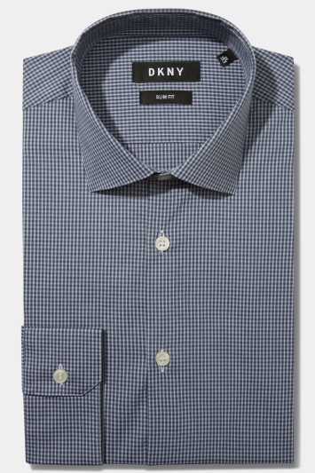 DKNY Slim Fit Grey Single Cuff Check Stretch Shirt