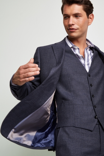 Lanificio F.lli Cerruti Dal 1881 Cloth Tailored Fit Mid Blue Texture Milled iTravel Jacket