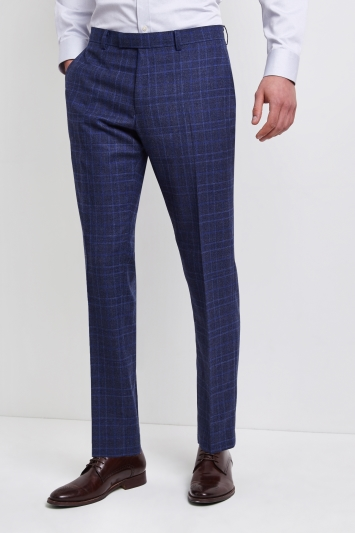 Lanificio F.lli Cerruti Dal 1881 Cloth Tailored Fit Bold Blue Check Milled iTravel Trousers