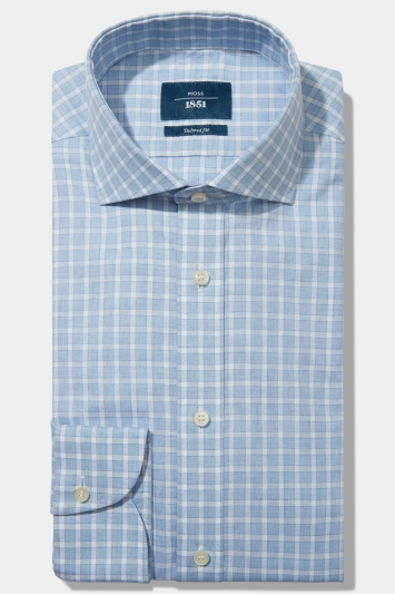 Moss 1851 Tailored Fit Sky Single Cuff Dobby Check Shirt