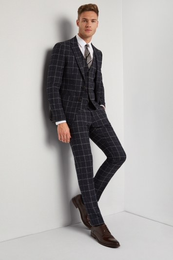 Moss London Skinny Fit Ink White Check Jacket