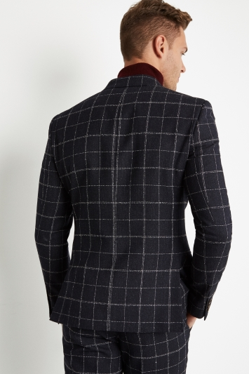 Moss London Skinny Fit Ink White Check Double Breasted Jacket