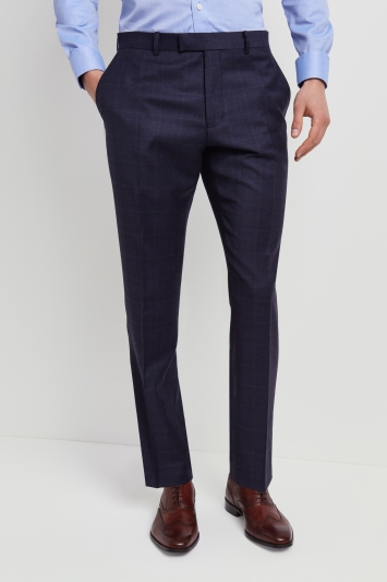 Lanificio F.lli Cerruti Dal 1881 Tailored Fit Blue with Rust Check Trousers