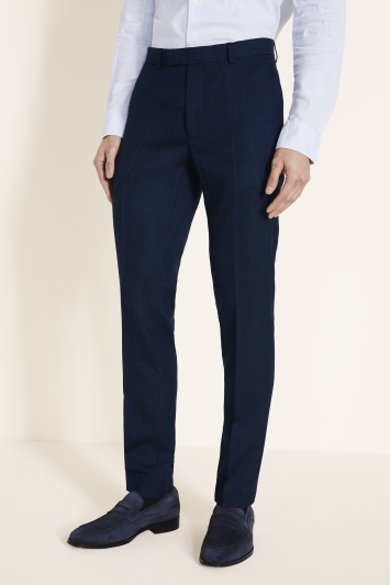 Moss London Skinny/Slim Fit Blue Twisted Trousers