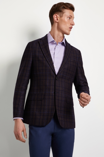Hardy Amies Tailored Fit Brown Blue Check Jacket