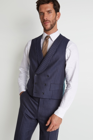 Savoy Taylors Guild Regular Fit Navy Double Stripe Waistcoat
