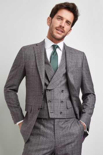 Savoy Taylors Guild Regular Fit Grey with Rust Check Jacket