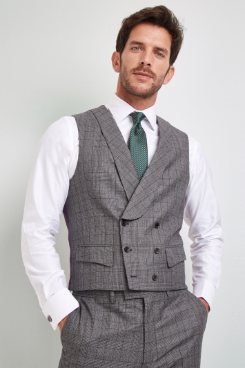Savoy Taylors Guild Regular Fit Grey with Rust Check Waistcoat