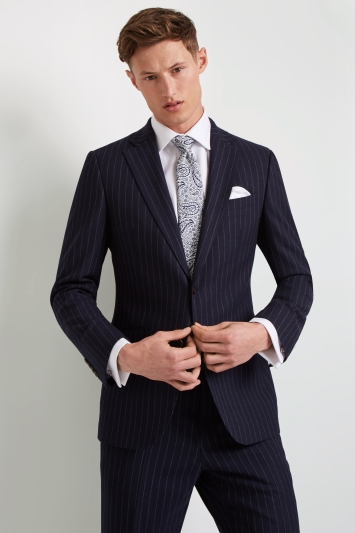Ermenegildo Zegna Cloth Tailored Fit Navy Stripe Jacket