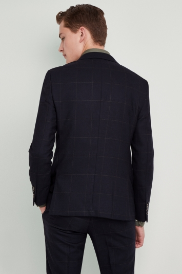 Moss London Premium Skinny Fit Navy Olive Windowpane Jacket