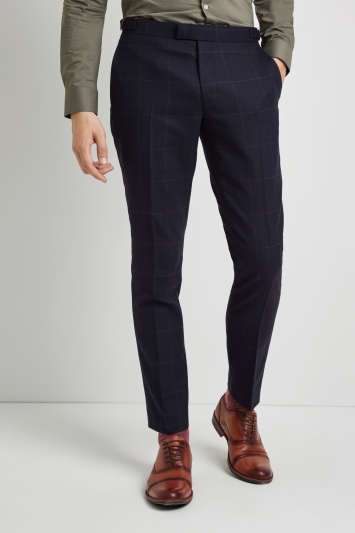 Moss London Premium Skinny Fit Navy Olive Windowpane Trousers