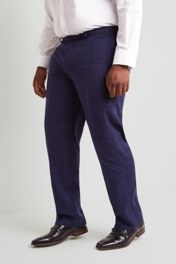 Moss Esq. Regular Fit Indigo Check Trousers