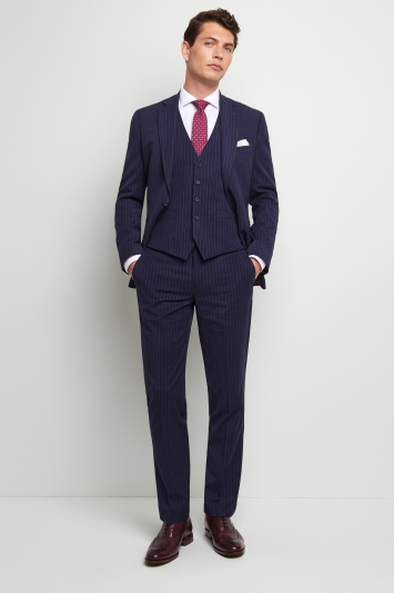 Moss 1851 Tailored Fit Navy Stripe Jacket