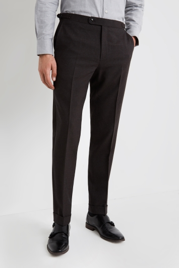 Ermenegildo Zegna Cloth Tailored Fit Chocolate Wool Trousers