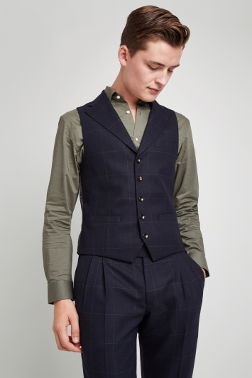 Moss London Premium Skinny Fit Navy Olive Windowpane Waistcoat