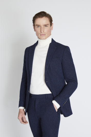 Moss London Skinny/Slim Fit Blue Donegal Jacket