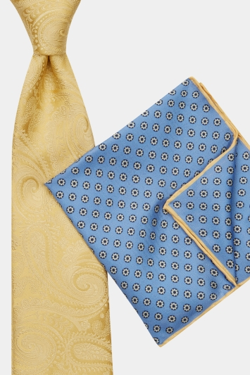 Moss 1851 Gold Paisley Tie, Pocket Square & Cufflink Gift Set