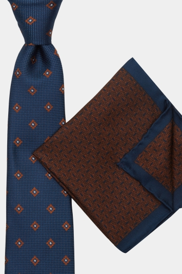 Moss 1851 Navy & Chocolate Textured Geometric Tie, Pocket Square & Cufflink Gift Set