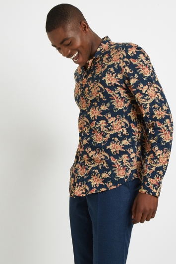 Moss London Skinny Fit Navy & Rust Floral Print Revere Collar Casual Shirt