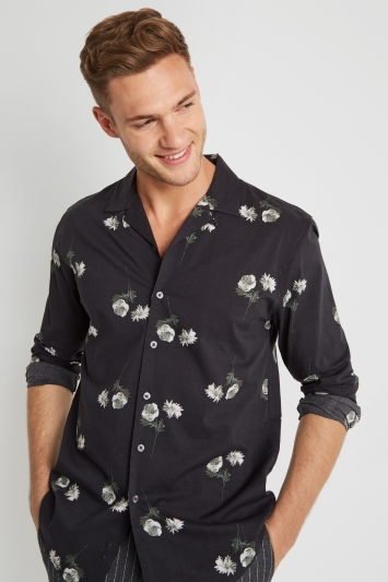Moss London Skinny Fit Navy Floral Print Revere Collar Casual Shirt