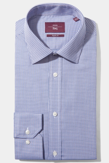 Moss Esq. Regular Fit Blue Single Cuff Dobby Non Iron Shirt