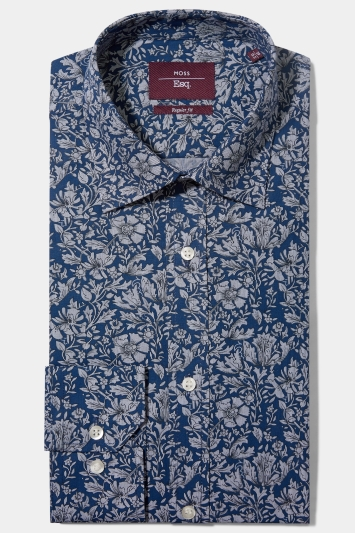 Moss Esq. Regular Fit Navy Single Cuff Floral Stripe Shirt