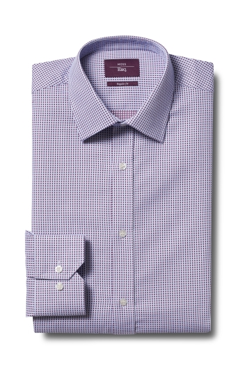 Moss Esq. Regular Fit Wine Single Cuff Dobby Non Iron Shirt