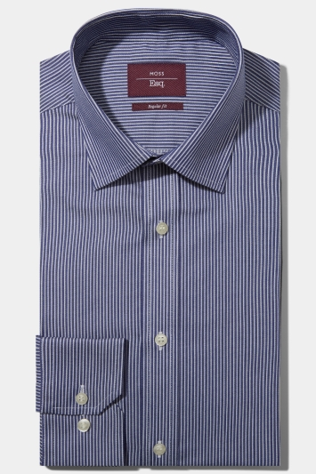 Moss Esq. Regular Fit Navy Single Cuff Twill Stripe Non Iron Shirt