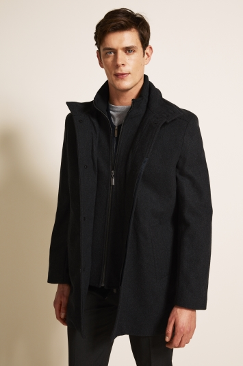 dfdc6699 Moss 1851 Tailored Fit Charcoal Grey Funnel Neck Coat