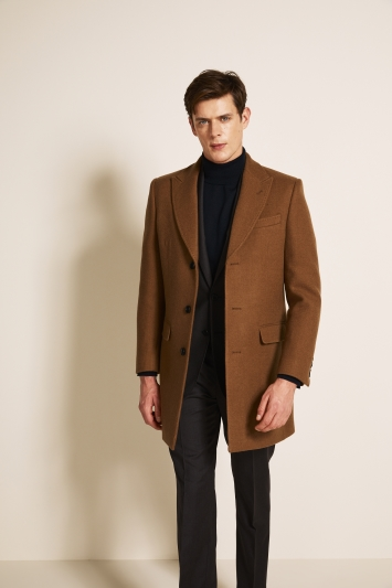 Moss 1851 Tailored Fit Camel Double Face with Grey Insert Overcoat