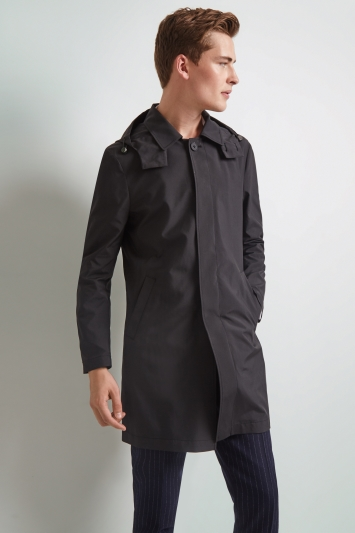 Moss London Slim Fit Black Hooded Raincoat