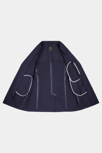 Moss London Slim Fit Navy Technical Raincoat