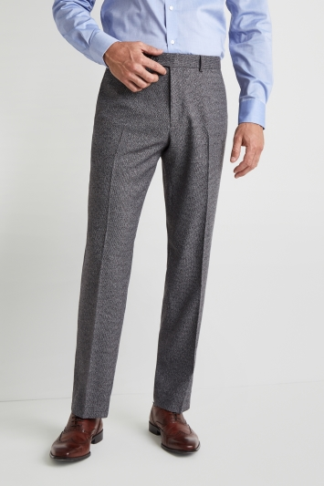 Moss Esq. Regular Fit Charcoal Puppytooth Trousers