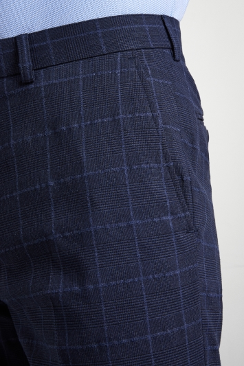 Moss Esq. Regular Fit Machine Washable Blue Boucle Windowpane Trousers