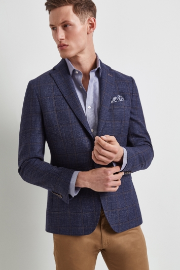 Moss 1851 Tailored Fit Blue Textured Windowpane Jacket